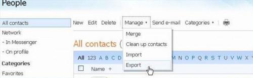 Come esportare l'elenco contatti di Hotmail